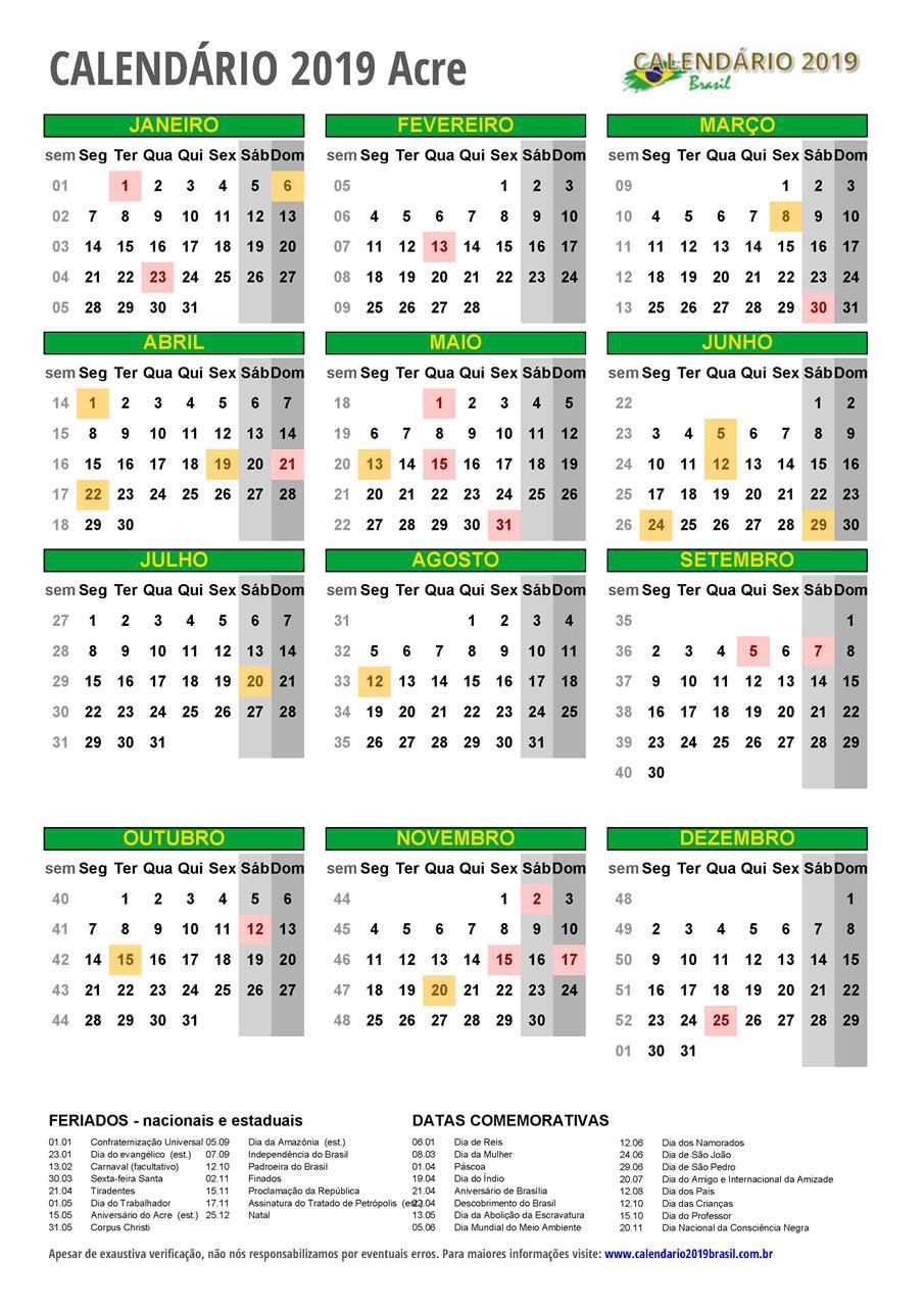 Calendario 2019 Rio Grande Do Sul.Calendario 2019 Para Imprimir Com Feriados