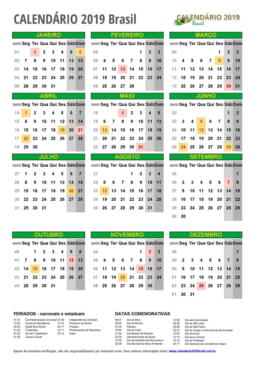 Calendario 2020 Com Feriados Para Impressao.Calendario 2019 Para Imprimir Com Feriados
