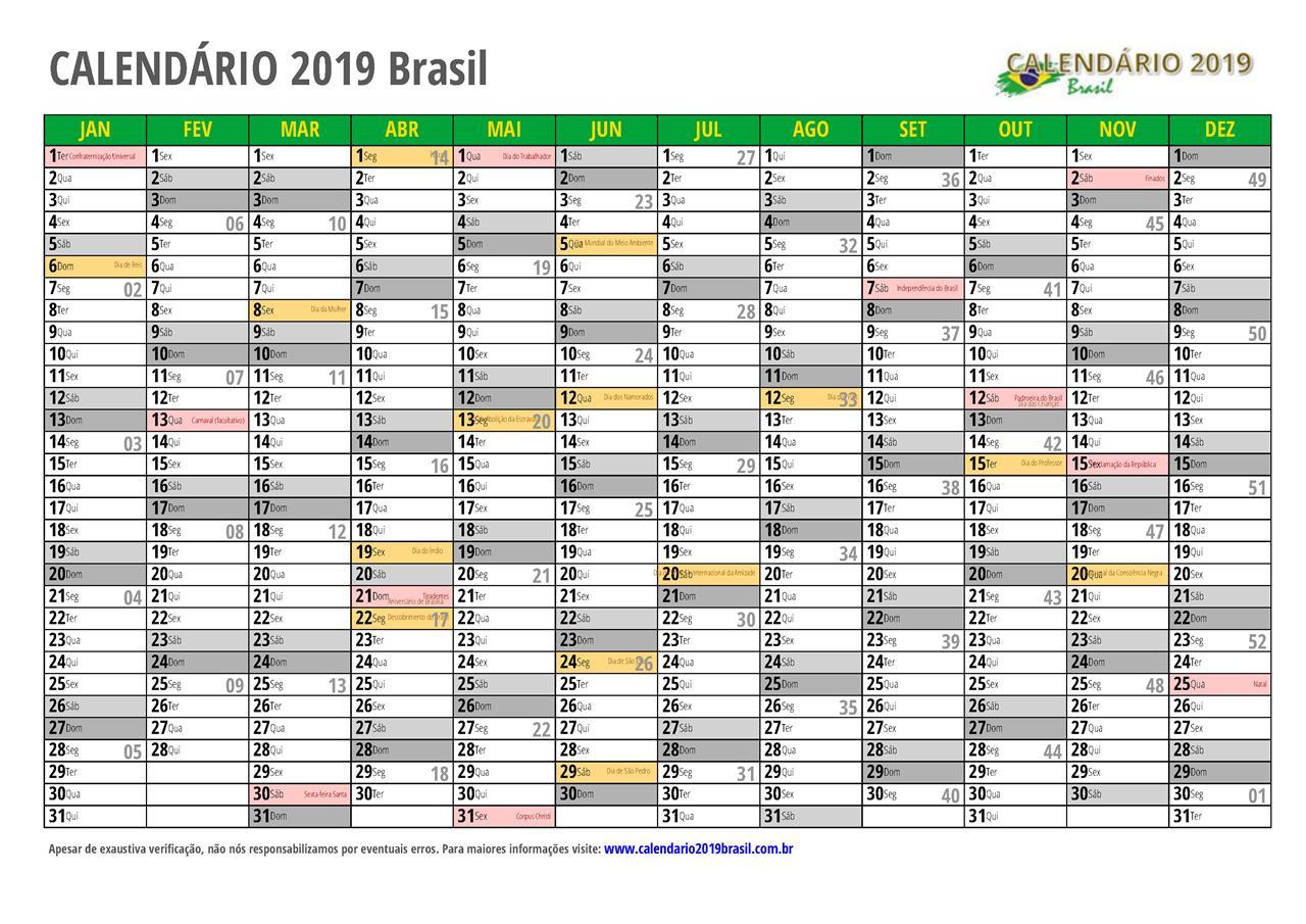 Calendario 2020 Pdf Brasil.Calendario 2019 Para Imprimir Com Feriados