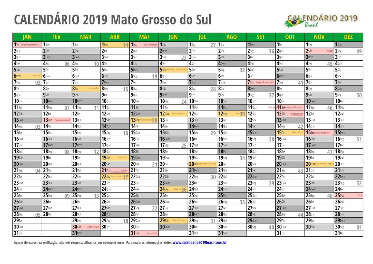 Calendario 2019 Campo Grande Ms.Calendario 2019 Para Imprimir Com Feriados
