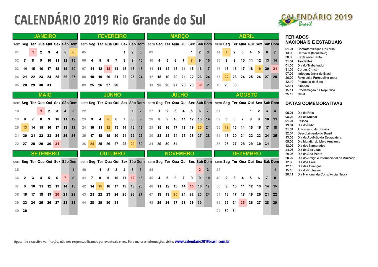 Calendario Grande.Calendario 2019 Para Imprimir Com Feriados
