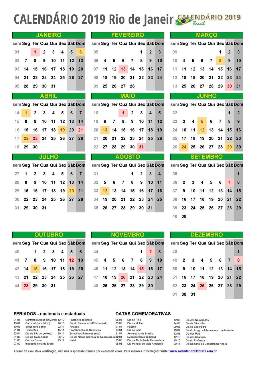 Calendario 2019 Rio De Janeiro