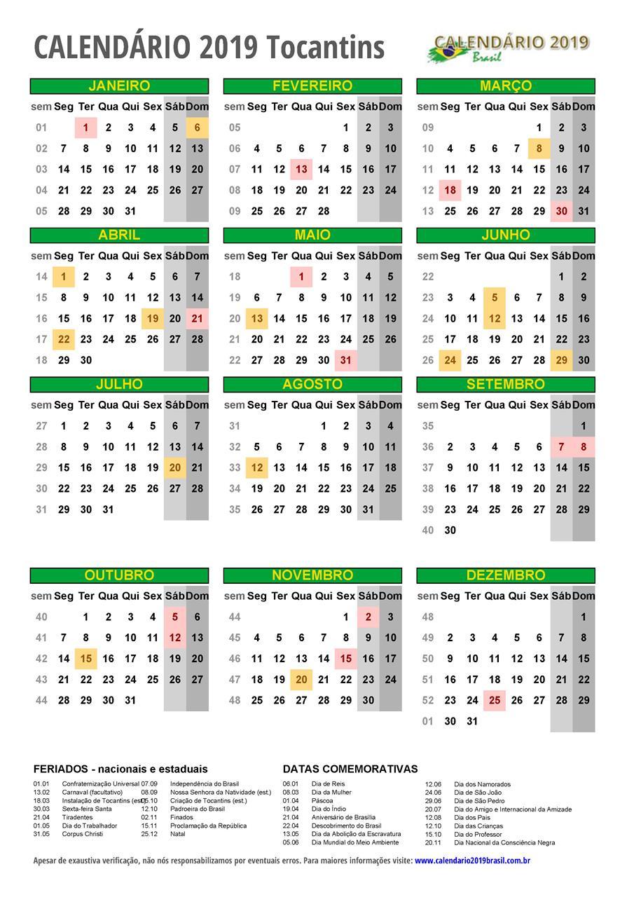 Calendario 2019 Con Feriados